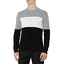 Buy Reiss Frost Colour Block Cotton Jumper, Black/Grey Online at johnlewis.com