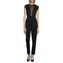 Buy French Connection Marie Sleeveless Chiffon Jumpsuit, Black Online at johnlewis.com