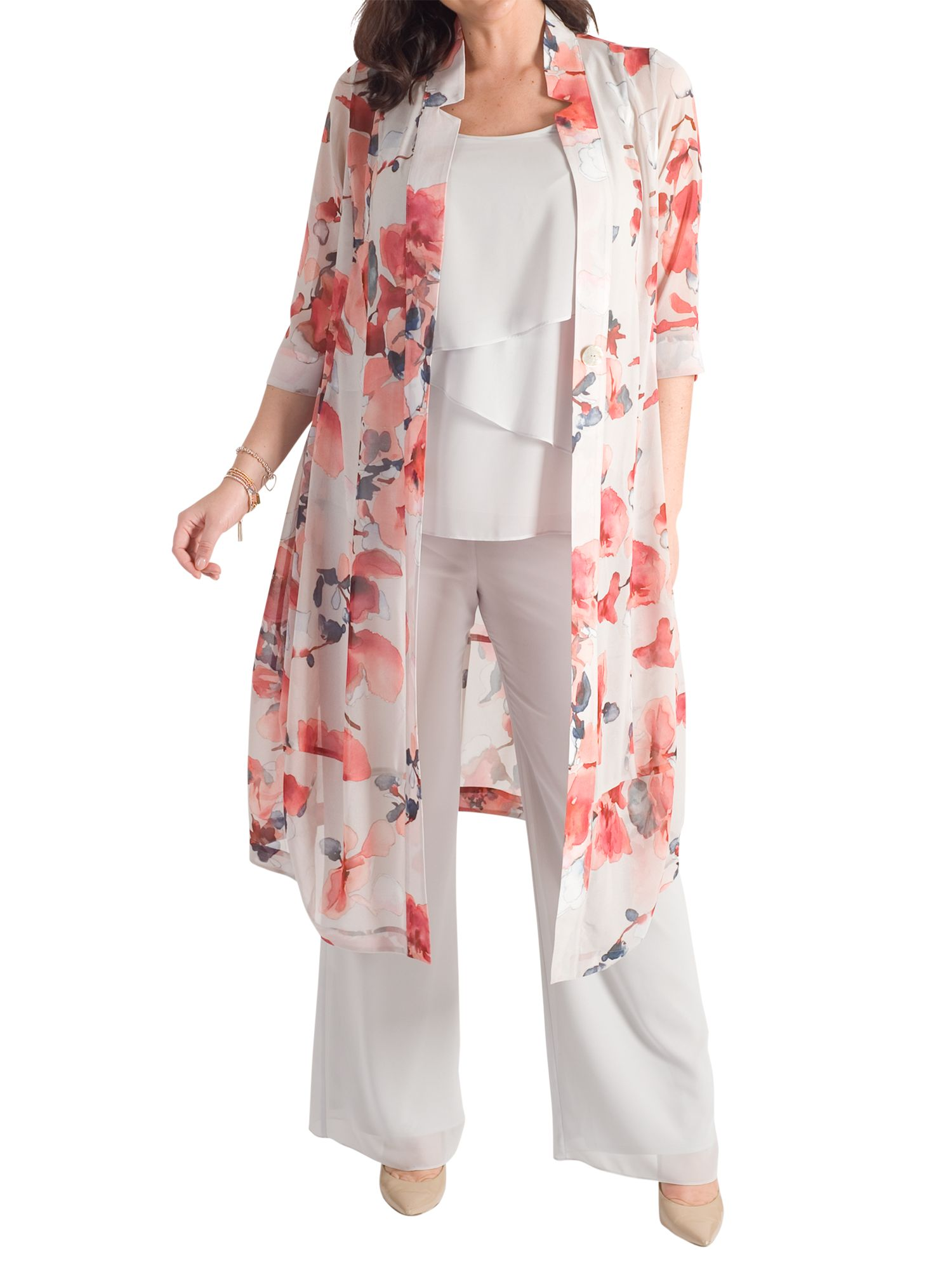 Chesca Chesca Floral Chiffon Coat, Silver Grey/Red