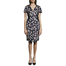 Buy French Connection Eva Leaf Print Cotton Dress, Utility Blue/Multi Online at johnlewis.com