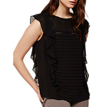 Buy Mint Velvet Folk Embroidered Shell Top, Black Online at johnlewis.com