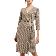 Buy Jaeger Jersey Print Wrap Dress, Black Online at johnlewis.com