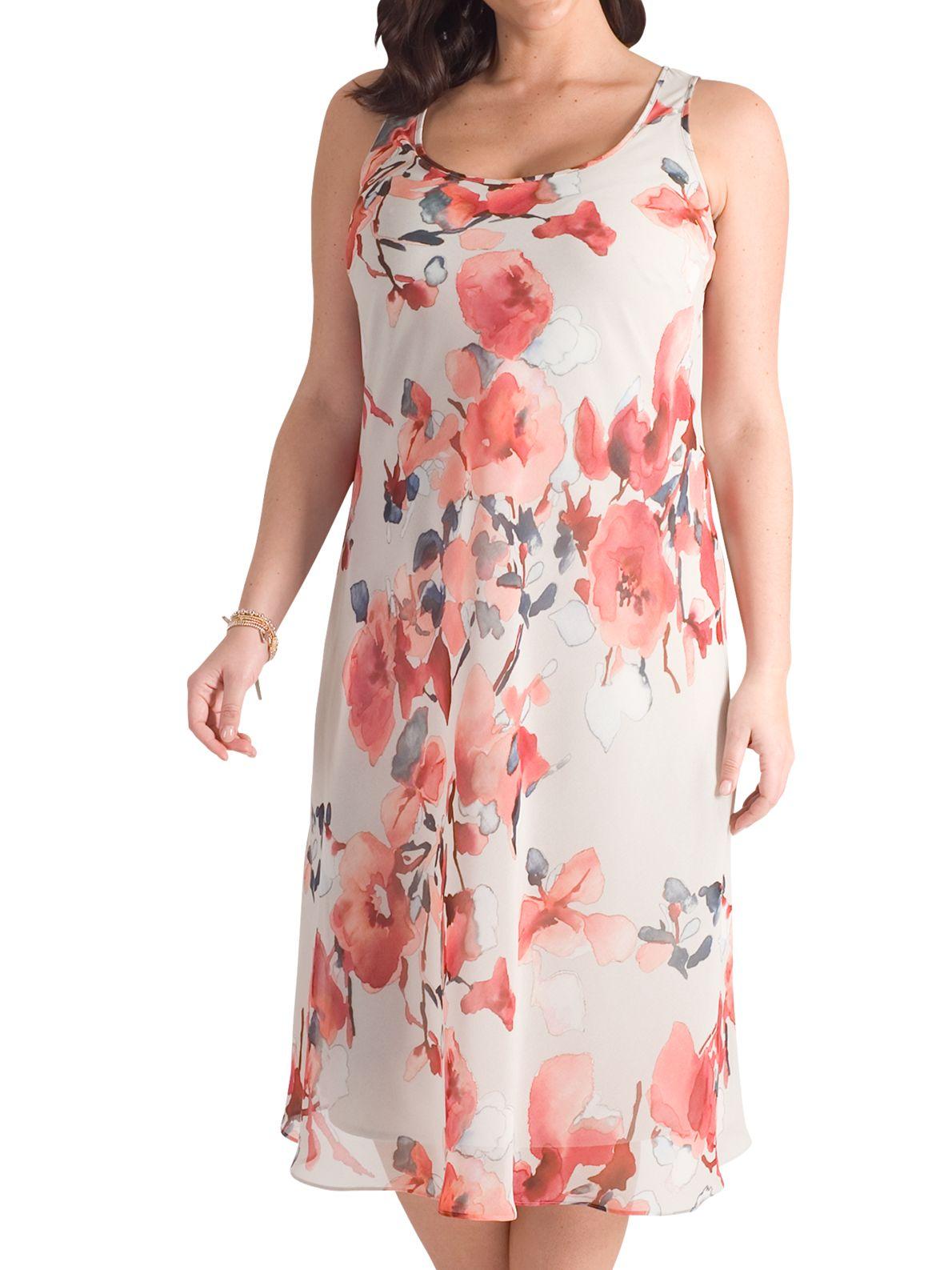 Chesca Chesca Floral Chiffon Dress, Aubergine