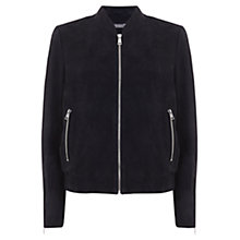 Buy Mint Velvet Suede Bomber Jacket, Blue Online at johnlewis.com