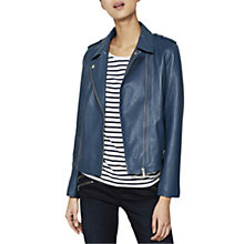 Buy Mint Velvet Leather Biker Jacket, Blue Online at johnlewis.com