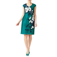 Buy Jacques Vert Petite Print Shantung Dress, Bright Green Online at johnlewis.com