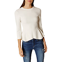 Buy Karen Millen Peplum Jumper, Ivory Online at johnlewis.com