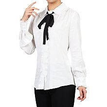 Buy Jolie Moi Trimmed Bow Tie Blouse, Ivory Online at johnlewis.com