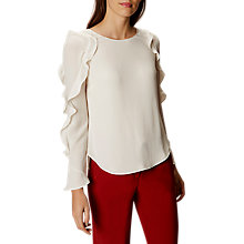 Buy Karen Millen Fluted Ruffle Blouse, White Online at johnlewis.com