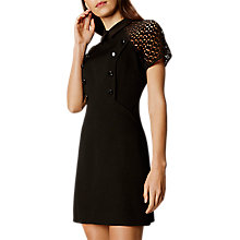 Buy Karen Millen Button Detail Shift Dress, Black Online at johnlewis.com