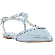 Buy Dune Cayote Studded T-Bar Court Shoes, Blue Online at johnlewis.com