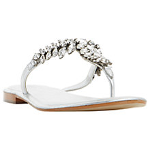 Buy Dune Nara Jewelled Toe Post Flat Sandals, Silver Online at johnlewis.com