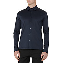 Buy Reiss Chapter Mercerised Cotton Slim Fit Shirt, Navy Online at johnlewis.com