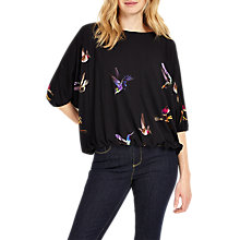 Buy Phase Eight Cecily Bird Print Top, Navy/Pink Online at johnlewis.com