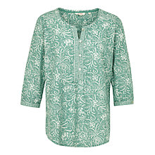 Buy Fat Face Jenny Intricate Floral Popover Top, Ocean Surf Online at johnlewis.com