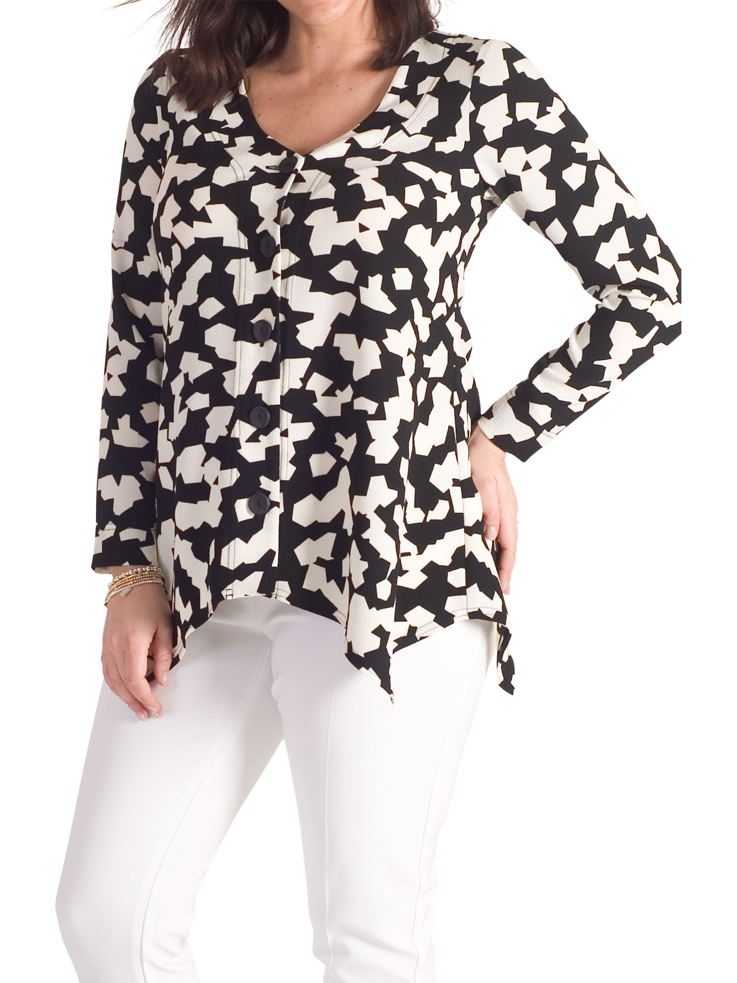 Chesca Chesca Abstract Jigsaw Jacket, Black/Ivory
