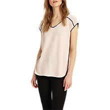 Buy Phase Eight Pippa Piped Edge T-Shirt, Black/Blush Online at johnlewis.com