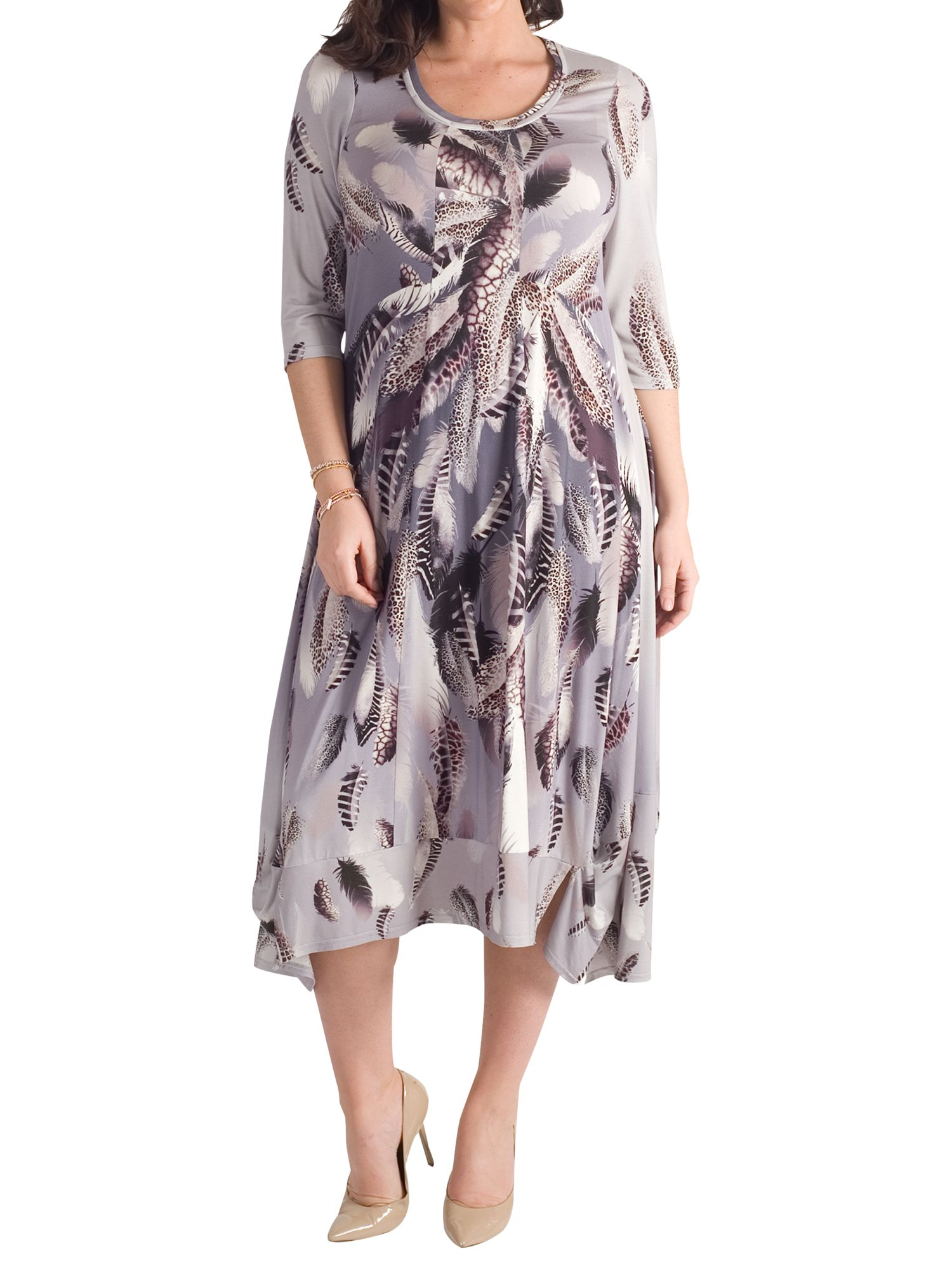 Chesca Chesca Feather Print Dress, Silver Grey