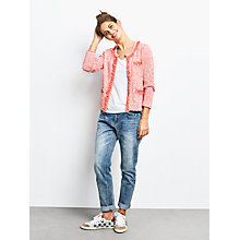 Buy hush Cara Cropped Knitted Jacket, Racing Red/White Online at johnlewis.com