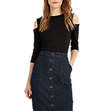 Buy Phase Eight Carolyn Cold Shoulder Top, Black Online at johnlewis.com