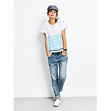 Buy hush Boxy Striped Slub T-Shirt, White/Radiance/Navy Online at johnlewis.com