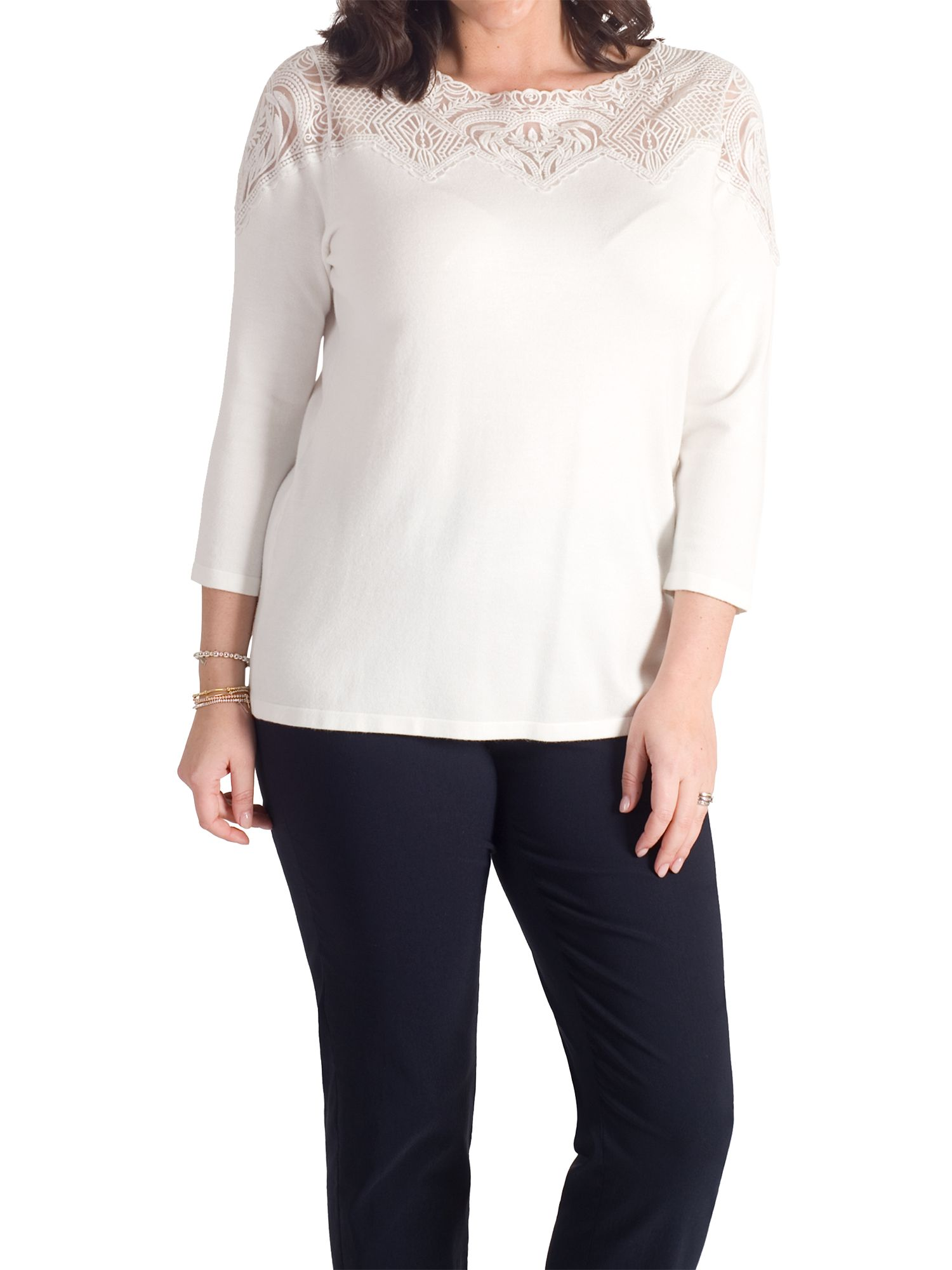 Chesca Chesca Embroidered Yoke Jumper, Taupe