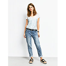 Buy hush Stripe Print Cotton V-Neck T-Shirt, Lightest Grey Marl/Metallic Blue Online at johnlewis.com