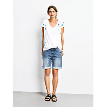 Buy hush Star Print Slub Cotton V-Neck T-Shirt, White/Metallic Blue Online at johnlewis.com