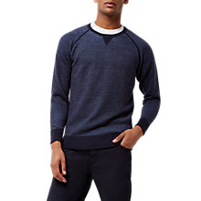 Buy Jaeger Loopback Wool Sweatshirt, Navy Online at johnlewis.com