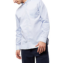 Buy Jaeger Cotton Contrast Textured Shirt, Blue Online at johnlewis.com