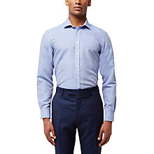 Buy Jaeger Horizontal Weave Slim Fit Shirt, Mid Blue Online at johnlewis.com
