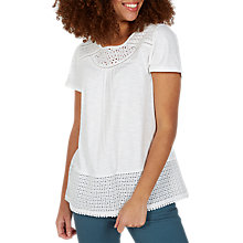 Buy Fat Face Olivia Broderie Top, White Online at johnlewis.com