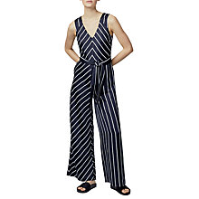 Buy Warehouse Stripe Jumpsuit, Black Online at johnlewis.com