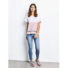 Buy hush Boxy Striped Slub T-Shirt, White/Strawberry Pink/Navy Online at johnlewis.com