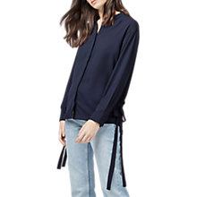 Buy Warehouse Wrap Tie Back Blouse, Navy Online at johnlewis.com