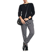 Buy hush Amie Stripe Joggers, White/Black Online at johnlewis.com