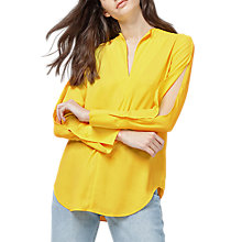 Buy Warehouse Split Sleeve Blouse, Yellow Online at johnlewis.com