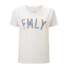 Buy Selfish Mother FMLY 70s T-Shirt, White/Neon & Pale Blue Floral Online at johnlewis.com