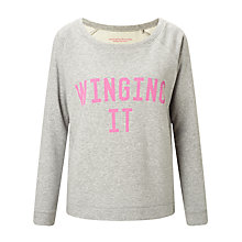 Buy Selfish Mother Winging It Scoop Neck Sweatshirt, Grey/Neon Pink Online at johnlewis.com