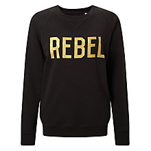 Buy Selfish Mother Rebel Crew Neck Sweatshirt, Black/Gold Online at johnlewis.com