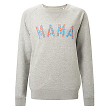 Buy Selfish Mother Mama Crew Neck Sweatshirt, Grey/Neon & Pale Blue Floral Online at johnlewis.com