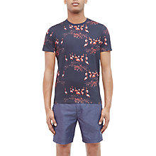 Buy Ted Baker Poket Flamingo Print Cotton T-Shirt, Navy Online at johnlewis.com