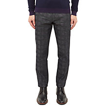 Buy Ted Baker Rectro Checked Linen-Cotton Blend Trousers, Charcoal Online at johnlewis.com