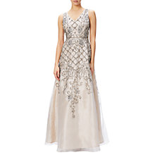Buy Adrianna Papell Sleeveless Organza Beaded Evening Gown, Ivory/Nude Online at johnlewis.com