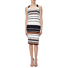 Buy Adrianna Papell Sleeveless Ottoman Stripe Dress, Fire Cracker Online at johnlewis.com