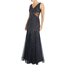 Buy Adrianna Papell Deep V-Neck Sleeveless Beaded Gown, Charcoal Online at johnlewis.com