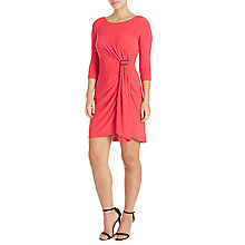 Buy Adrianna Papell Matte Jersey Draped Dress, Hot Coral Online at johnlewis.com