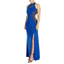 Buy Adrianna Papell Beaded Halterneck Gown, Royal Blue Online at johnlewis.com