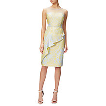 Buy Adrianna Papell Jacquard Cascade Peplum Sheath Dress, Sunbeam/Multi Online at johnlewis.com