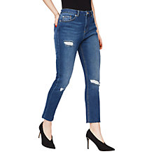 Buy Miss Selfridge Raw Hem Straight Leg Jeans Online at johnlewis.com